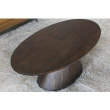 Brown Oval Coffee Table On Tapered Pedestal Base