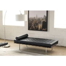 Black Leather Barcelona Style Day Bed