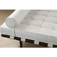 White Leather Barcelona Style Daybed