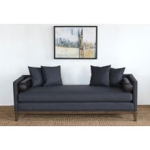 Charcoal Felt Daybed with Black Leather Bolster Pillows
