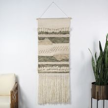 Chunky Olive & Cream Wall Hanging 24W X 42H
