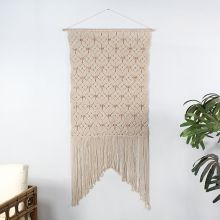 Cream Macrame W/Beads Wall Hanging 29W X 60H