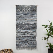 Handwoven Blue & Charcoal Wall Hanging 30W X 60H