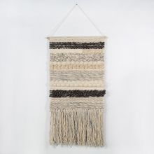 Handwoven Gray & Cream Wall Hanging 24W X 48H