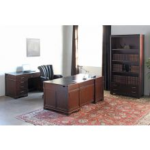 Dark Wood Executive Desk with Leather Top