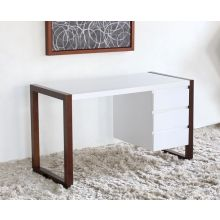 Manon Desk in Matte White with Walnut Legs