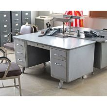 Gray Metal Desk with 5 Side Drawers