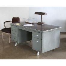 Storm Gray Metal Desk With 5 Side Drawers