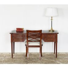 Antique Cherry Writing Desk With Black Leather Top