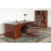 Carved Mahogany Regency-Style Executive Desk