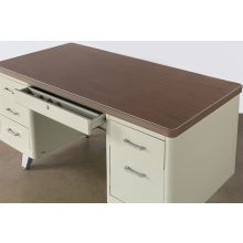 Beige Metal Desk With Two File Cabinets