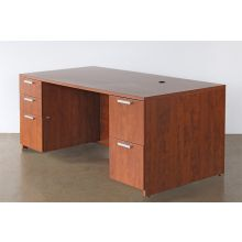 Golden Cherry Desk With Two File Cabinets