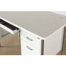 White metal Desk with File Cabinet