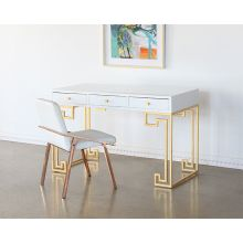 White Lacquer Greek Key Desk