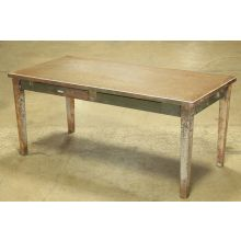 Aged Green Steelcase Desk with Two Drawers
