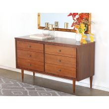 Mid-Century 6 Drawer Dresser with Decorative Frame Detailing, Vintage 1960's