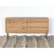 Danish Modern Natural Oak 6 Drawer Dresser With Brass