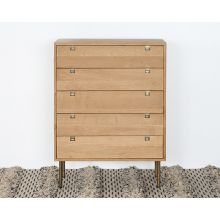 Danish Modern Natural Oak 5 Drawer Dresser With Brass