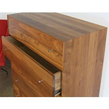 Walnut 5 Drawer Dresser With Stainless Base