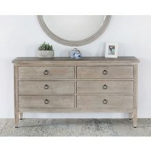 Washed Elm Dresser With 6 Drawers