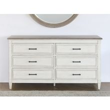 Antique White 6 Drawer Dresser With Wood Top