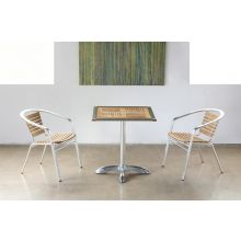 Teak and Aluminum Bistro Table