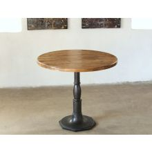 Cast Iron Bistro Table with Reclaimed Wood Top