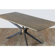 Industrial Iron and Brass Dining Table