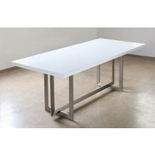 Remi Dining Table in Matte White with Stainless Steel Base