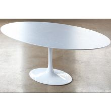 Saarinen Style Dining Table with White Wood Top