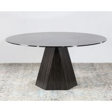 Jet Variegated Pedestal Table W/ Smoke Glass Top