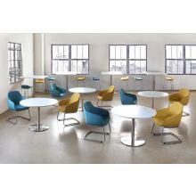 Round White Cafe Table W/Brushed Aluminum Base