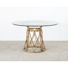 "Rattan Pedestal Dining Table W/48"" Round Glass Top"
