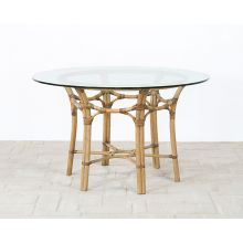 "Rattan Dining Table W/48"" Round Glass Top"