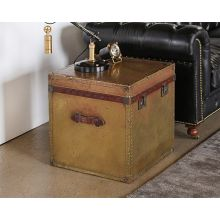 Vintage Brass Trunk End Table