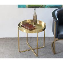 Gold Brushed Stainless Steel Dish Side Table