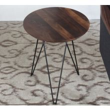 Solo End Table with Walnut Top and Black Metal Base