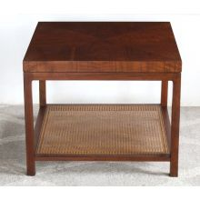 Mid-Century Square Side Table with Cane Accent Shelf, Vintage 1960's