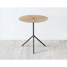 White Oak Tripod End Table with Steel Legs