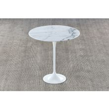 Saarinen Style Tulip End Table with White Stone Top