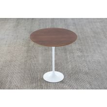 Saarinen Style Tulip End Table with Walnut Top