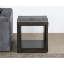 Tobacco Stained Reclaimed Wood Cube End Table