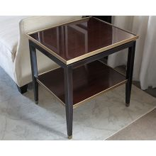 Dark Wood End Table with Gold Accents