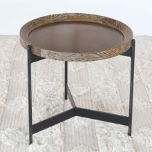 Round Seared Oak End Table with Black Iron Base