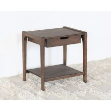 Mango Wood End Table with One Drawer