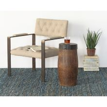 Cylindrical Wood End Table W/Rustic Metal Cap
