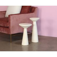 Conical White Cement End Tables
