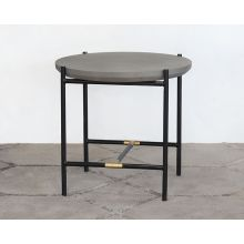 Iron End Table W/Brass Accents & Concrete Top
