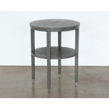 Ash End Table With Brushed Silver Accents