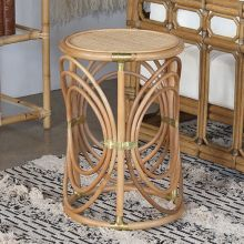 South Seas Rattan End Table W/Brass Accents